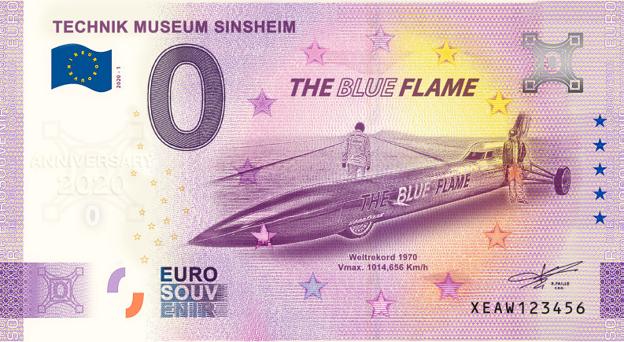 0-Euro Souvenirschein Technik Museum Sinsheim - Blue Flame - ANNIVERSARY EDITION