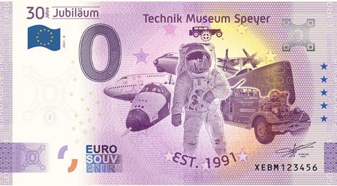 0-Euro Souvenirschein Technik Museum Speyer - 30 Jahre Technik Museum Speyer