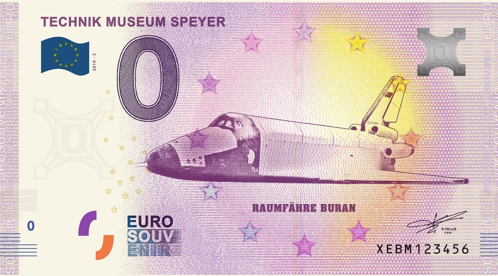 0-Euro Souvenirschein Technik Museum Speyer - RAUMFÄHRE BURAN