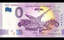 0-Euro Souvenirschein Technik Museum Sinsheim - 40 Jahre Technik Museum Sinsheim