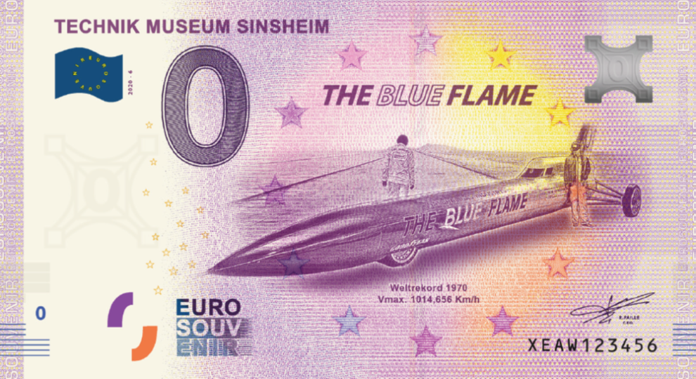 Souvenir 0 Euro Note - Blue Flame