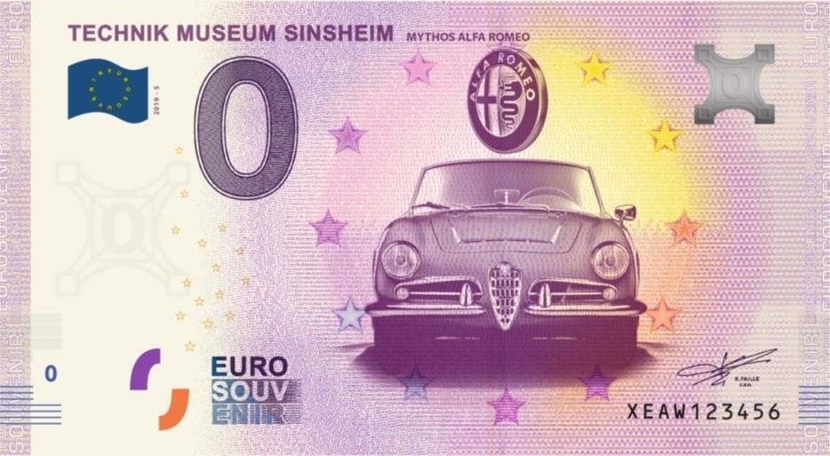 Souvenir 0 Euro note - Mythos Alfa Romeo